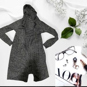 xs Heathered Grey Hooded Duster Cardigan